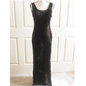 Laura Ashley Black Red Rhinestone Gown Maxi Dress